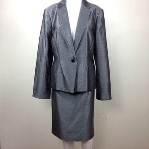 Calvin Klein Steel Gray Skirt Pencil Suit Sz 12